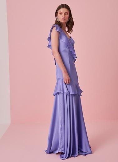 morhipo x dcey Saten Volanlı Elbise Lila